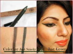 Colorbar Just Smoky Kajal – Just Green Review, Swatch, EOTD