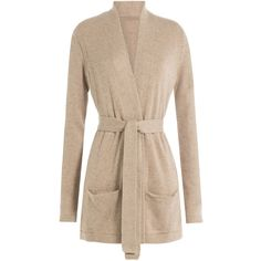 Closed Belted Cardigan ($255) ❤ liked on Polyvore featuring tops, cardigans, beige, slim fit cardigan, pocket cardigan, slimming tops, belted top and open front cardigan