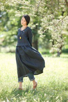 Rund NecK Loose Fitting Long Maxi Dress Dress in от deboy2000
