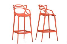 Baxton Studio Electron Orange Plastic Bar Stool - Set of 2