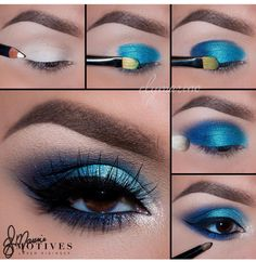 Motives® Khol Eyeliner - Engel - Make-up Ideen - Eye Make up Eye Makeup Steps, Blue Eye Makeup, Hair Makeup, Blue Eyeshadow For Brown Eyes, Blue Makeup Looks, Brown Eyed Makeup, Blue Eye Shadow, Make Up Brown Eyes, Mermaid Eye Makeup