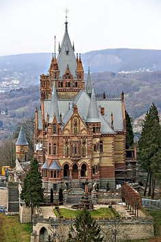 Along the Rhine are many castles and one famous one is the Drachenburg. It is a private castle that was built in the late century on the famous Drachenfels above Koenigswinter, a town near the German city Bonn (former capital) at the Rhine. The castle