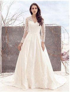 Svatební šaty s dlouhými krajkovými rukávy Levné Svatební Šaty 0a3ab83964
