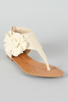 In Beige ~ Floral Ankle Cuff Thong Flat sandal