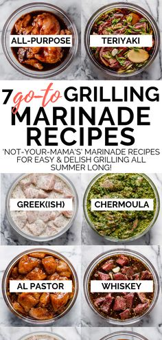 7 delicious grilling marinade recipes to keep in your back pocket as you gear up for grilling season including my familys teriyaki sauce recipe a greek-inspired yogurt marinade moroccan chermoula middle eastern shawarma our house marinade & more! Marinade Porc, Marinade Sauce, Pork Marinade Recipes, Sauce Recipes, Pork Recipes, Receta Salsa Teriyaki, Perfect Grilled Chicken, Grilled Chicken Sides, Gastronomia