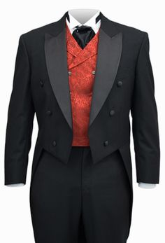 Originally designed by English country gentlemen to make horseback riding easier, the tailcoat was popularized for daywear by Beau Brummel himself. By the 1860's it was used almost exclusively for evening wear.