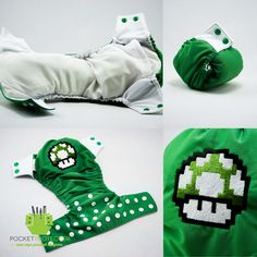 Mario Bros. Green Mushroom Inspired - One-size (OS) Pocket Cloth Diaper and Microfiber Insert. $24.95, via Etsy.