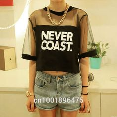 Summer Lady Women Crew Neck Gauze T-Shirt Loose Crop Tops Short Casual Black, White