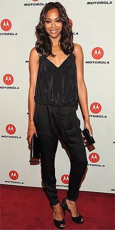 PEOPLE StyleWatch's November cover girl opts for casual chic in her backless halter and slim trousers – both by Barbara Bui – at the Motorola Mobility launch in N.Y.C.