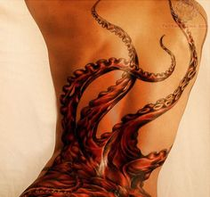 55 Beautiful octopus back tattoo