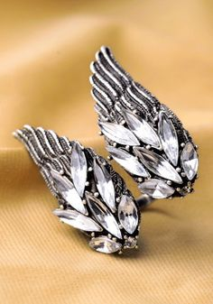 Antiqued Wing Ring - Silver.... my Grandmothers both had earrings like this when I was little. Church every Sunday