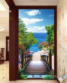 3D Bridge Beach Tree Corridor Entrance Wall Mural Decals Art Print Wallpaper 066