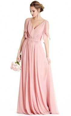 Pretty chiffon fabric makes lovely ensemble with this marvelous maxi dress!  A semi-. Pink Bridesmaid Dresses ... 4a9ad4786869
