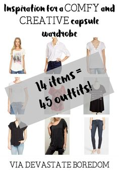 Inspiration for a COMFY and CREATIVE indie capsule wardrobe - 14 items mix-and-match to 45 outfits - minimalist closet ideas