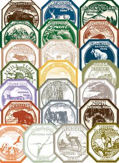 WPA window stickers from national parks Exciting!  Geography, Civics, History, Social Studies, Collections, Community