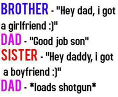 This is the difference between brothers & sisters.