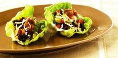 Lettuce-Wrap Tacos with Black Beans and Corn: #Quick lunch no cook option! 170 calories. Dietary exchange 1 1/2 starch, 1 very lean meat, 1 fat. #heart #healthy