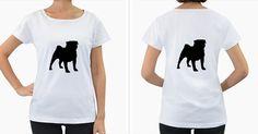 Pug+Silo+Black+Women's+Loose-Fit+T-Shirt+(White)