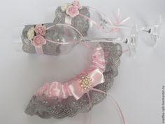 Купить бокалы Розовая дымка - серый, свадьба, свадебные аксессуары, свадебные бокалы, свадебный аксессуар