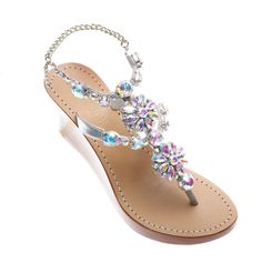 54ea29f8ec2887 Ankara. Mystique SandalsSilver WedgesRhinestone ShoesLeather Wedge ...