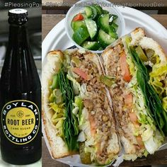 Blue Monday? Not with our vegetarian Lentilicious sandwich (can be made vegan) & @boylanbottling root beer!