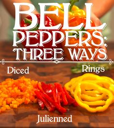 Three ways to cut a bell pepper. #cooking #cooking101 #bellpepper #video #food