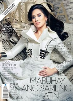 Sarah Geronimo channeling the cover of Mega magazine for June 2012 issue. Sarah Geronimo wears a white metallic haute couture and a heavy dramatic make-up for the magazine. Filipino Fashion, Maine Mendoza, Filipina Beauty, Twitter Trending, Geronimo, Trending Topics, Movie Stars, Vogue, Actresses