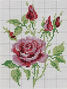 cross stitch roses - can use the pattern for crochet blanket
