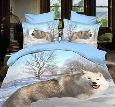 Cheap wolf bedding sets, Buy Quality bedding set directly from China queen size Suppliers: oil wolf bedding bedding sets without filler,white wolf in the snow bedspreads,wolf duvet cover queen size Bed Comforter Sets, Cheap Bedding Sets, Best Bedding Sets, Comforter Cover, Queen Bedding Sets, Duvet Bedding, Duvet Covers, Bedding Decor, Affordable Bedding