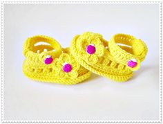 Yellow baby shoes Crochet baby shoes Summer baby by ROSSIBOUTIQUE