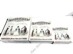 VINTAGE RETRO STYLE SET 3 SQUARE CHOCOLATE STORAGE BOXES TIN METAL FRENCH DETAIL