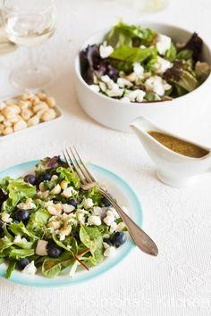 Salade met geitenkaas en blauwe bessen