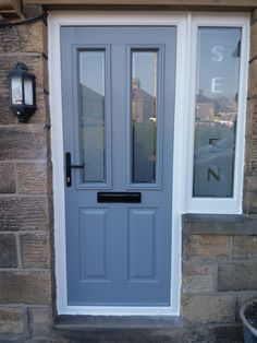 Composite door. Ludlow 2 style. French grey with black handle and letterbox
