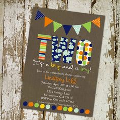 twins baby shower invitations for twins with banner and polka dots, digital, printable file (item 155). $13.00, via Etsy.