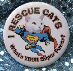 i rescue cats...whats your superpower badge by thedogcoatlady