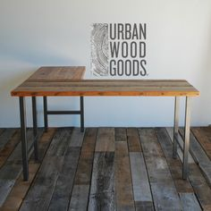 L shaped desk made with reclaimed top and steel by UrbanWoodGoods