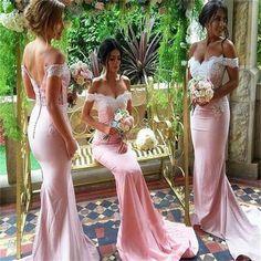 Popular Off Shoulder Mermaid Lace Bridesmaid Dress, Sexy Wedding Party Dress