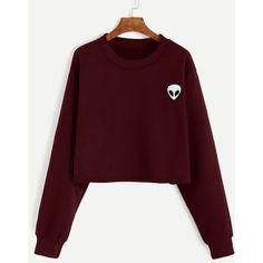 SheIn(sheinside) Burgundy Alien Embroidered Crop Sweatshirt ($16) ❤ liked on Polyvore featuring tops, hoodies, sweatshirts, burgundy, crop top, red top, pullover sweatshirt, embroidered sweatshirts and cotton crop top