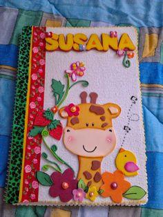 caderno decorado com eva, com moldes