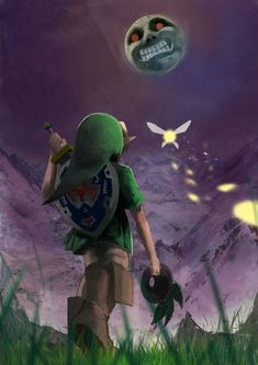 The Legend of Zelda: Majora's Mask / Young Link, Tatl, and The Moon / 「ムジュラの仮面」/「ふくつ」のイラスト [pixiv]