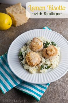 Lemon Risotto with Seared Scallops is a great recipe for a special, easy Valentines Day dinner!