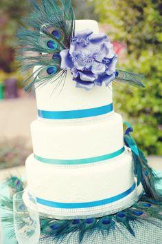 ♪♩♭◥ Peacock Themed Wedding Cake