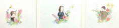 Imogen Imogen - Coloured Pencil on watercolour paper. Set of 3 - Truro College A Level Fine Art - Coursework Show 2017