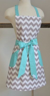 Gray Chevron with Teal Trim Retro Adult Apron  by LizzysBiz