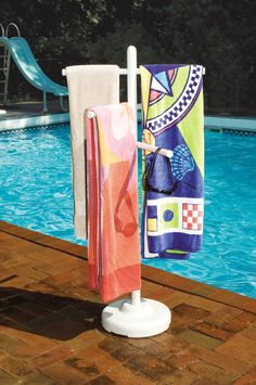 PVC Towel Rack - Accessories - Swimming Pools.. this would be something to make for @Robin Dilley