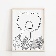 Black Girl Curly Hairstyles, Black Curly Hair, Face Line Drawing, Sun Art, Art File, Minimalist Poster, Printable Wall Art, Boho Decor, Photo Wall Art