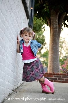 child photography downtown 3 year old girl adorable pose pink rain boots jean jacket plaid skirt piggy tales Young Girl Photography, Old Photography, Children Photography, Amazing Photography, Little Girl Pictures, Baby Girl Photos, Boy Pictures, Toddler Pictures, Family Pictures