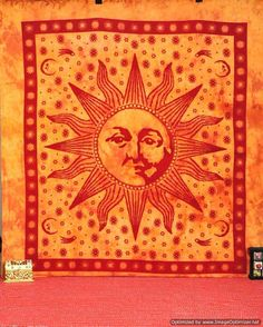 Psychedelic Celestial Sun Moon Hippie Hippy Wall by BeingGypsy