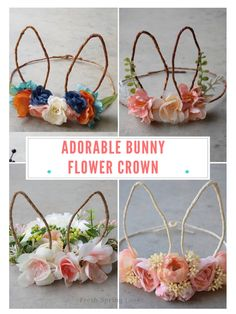 How cute are these bunny flower crowns. So pretty to wear on Easter Day. Bunny ear flower crown // floral wreath crown photo prop // boho crown // photo prop // flower headband // lavender leaf designs #ad