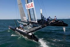 """Here come the catamarans. World-class racing at last splashes down on San Francisco Bay next week, with the first races in the America's Cup World Series. The 45-foot catamarans will speed by Marina Green between Alcatraz Island and the Golden Gate Bridge so close """"you can almost touch them,"""" and so fast that """"there will be some damage for sure,"""" according the Contra Costa Times."""
